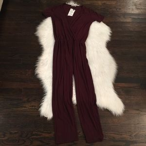 Zara Trafaluc Maroon Jumpsuit Medium